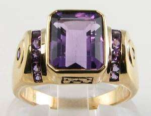 HUGE/MASSIVE 9CT GOLD ART DECO INSP ALL AMETHYST RING