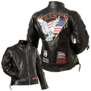Leather Motorcycle Biker Live to Ride Jacket Clothing Apparel