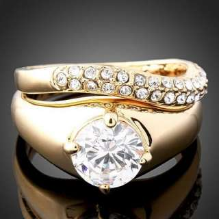 White Swarovski Crystal Yellow Gold GP Finger Ring