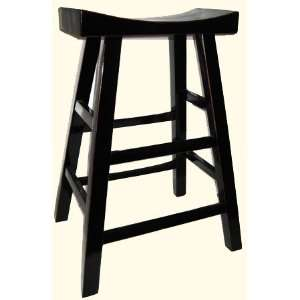 Tamu black lacquer bar stool with elegant Moon shape seat at impor