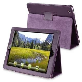 12 Accessory For iPad 2 Purple Leather Case+Screen Film