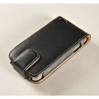 Black Leather Wallet Flip Case cover pouch for iPhone 4 4S + Screen