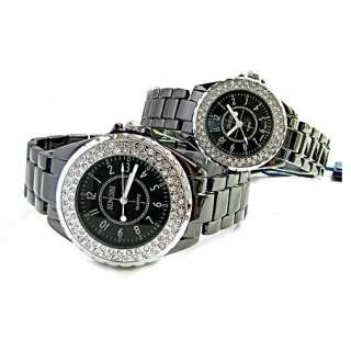 fashion luxury Men Women Crystal diamonds Black Quartz Wrist Watch SN6
