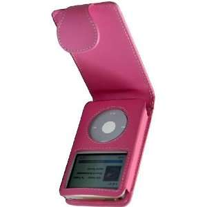 Premium Pink Flip Leather Case for iPod Video/Classic with