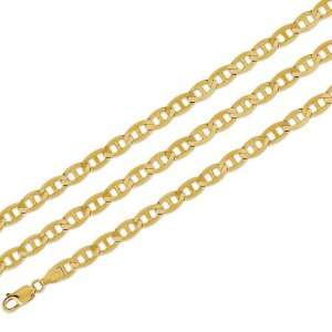 14k Yellow Solid Gold Necklace Mariner Chain 6.4mm 22