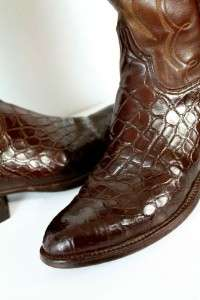 mens brown LUCCHESE ALLIGATOR COWBOY BOOTS western exotic embroidered