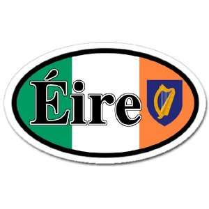 Ireland Eire and Irish Flag Car Bumper Sticker Decal Oval