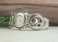 HORSE & WESTERN LADIES WOMENS TEXAS STAR CUFF WATCH SILVER & GOLD TONE