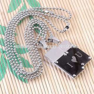 Couple Stainless Steel Black Love Oblong Pendant Ball Chain Necklace