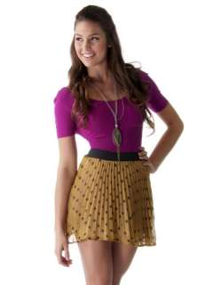 NEW WOMEN Casual Polka Dot Chiffon Pleated Mini Skirt yellow sz