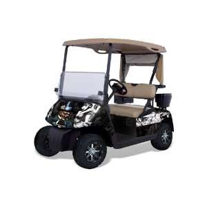Golf Cart Graphic Kit (1996 2010) Mad Hatter   Black White Automotive