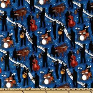 44 Wide Jazz Musicians Blue Fabric By The Yard Arts