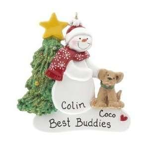 with Dog   Black Tan or White Dog Christmas Ornament