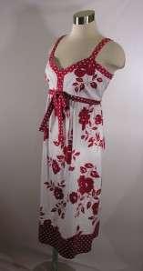 LENNIE For Nina Leonard Red & White Floral Print Cotton Dress Size 14