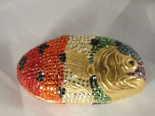 JUDITH LEIBER SWAROVSKI CRYSTAL RAINBOW FISH PILL BOX RARE *THE