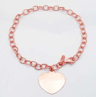 Heart Tag Bracelet W/ Rolo Chain 14K Rose Pink Gold