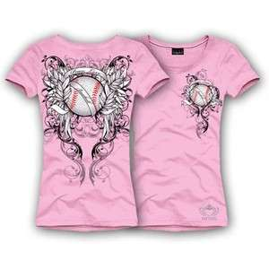 Katydid Pink Peace Love Baseball Rhinestone Shirt   M
