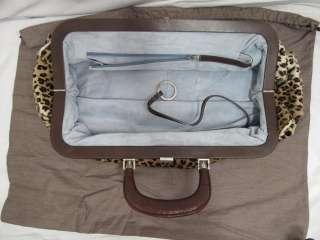 Lambertson Truex Leopard Pony Hair Brown Leather Trim Long Bag