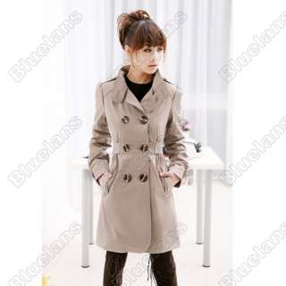 Womens Ladies Fashion Slim Fit Bowknot Trench Coat Double Breasted M L