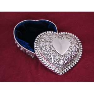 Kaitlyn Silver Plated Heart Jewelry Box