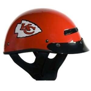 Red Medium NFL Kansas City Chiefs Motorcycle Half Helmet Automotive