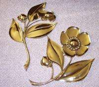 Hollywood Regency brass tone gold wall art hanging flowers bohemian