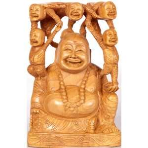 Laughing Buddha   Kadamba Wood Sculpture from Jaipur