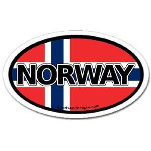 Norway Norwegian Flag Car Bumper Sticker Decal Oval