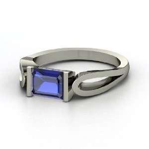 Loop de Loop Ring, Emerald Cut Sapphire Sterling Silver
