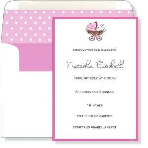 Girl Baby Shower Invitations   Pink & Brown Pram