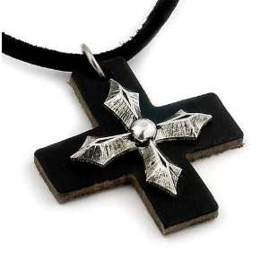 Black Leather Sterling Silver Cross Pendant Necklace Jewelry