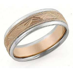 Two Tone Rose and White Gold Gold Wedding Band Ring 14Kt Gold