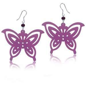 Pink Filigree Wood Sterling Silver Earrings   Butterfly