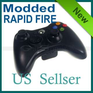 Black Wireless RAPID FIRE Mode Modded FOR Xbox 360 Controller LED Drop