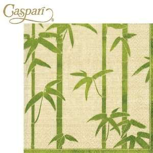 Caspari Paper Napkins 10590C Bamboo Silk Green Cocktail Napkins