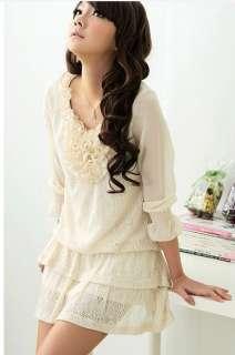 Plus Size Long Sleeve Ruffled Collar Laciness Dress Apricot Chiffon