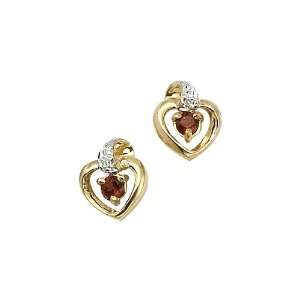 14K Yellow Gold 0.01 ct. Diamond and 3 MM Garnet Heart