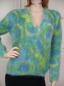 FUZZY Longhair MOHAIR Deep V Hand Knit SWEATER Blue Green MOD Print