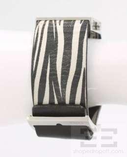 Gabbana Black Leather Reversible Stainless Steel Logo Watch Bracelet