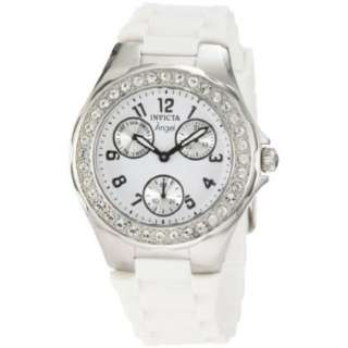 Invicta Womens 1648 Angel Crystal Accented White Dial White Silicone