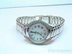 LADIES VINCENCE DIAMOND WATCH 14k SOLID WHITE GOLD ESTATE SALE SWISS