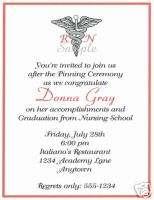 20 Graduation Party Invitations/Nurse/Caduceus/Red