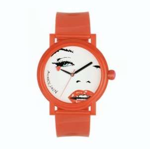 NEW BETSEY JOHNSON RED STRAP FACE MARILYN MONROE WOMENS LADIES WATCH