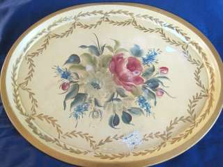 Large Pale Yellow Antique Tole Tray ** Shabby Beach Cottage Floral
