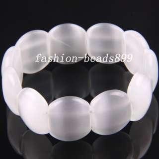 Pretty White Opal Beads Bracelet Stretch 7 H627