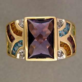AMETHYST GARNET CITRINE IOLITE DIAMOND 14K YELLOW GOLD RING