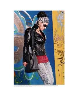 NWT lady black rock shiny Armor motorcycle Bomber Jacket faux leather