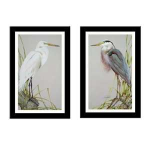 AMERICAN EGRET/GREAT BLUE HERON L/E 2 Piece Bird art FRAMED PRINT