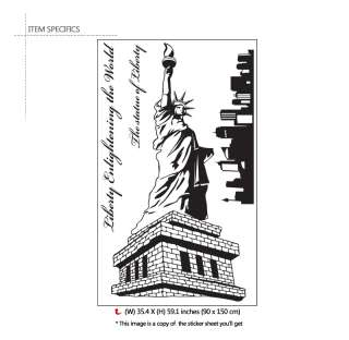 Statue of Liberty & Quotes Wall Art Decal Sticker LARGE