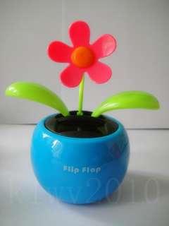 Magic Cute GREEN Solar Powered Flip Flap Swing Flower Cool Car Dancing